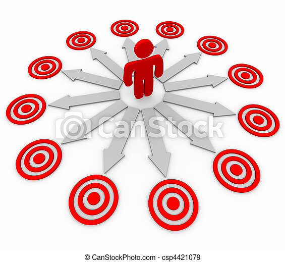 Many Opportunities are Targeted - Man and Arrows - csp4421079