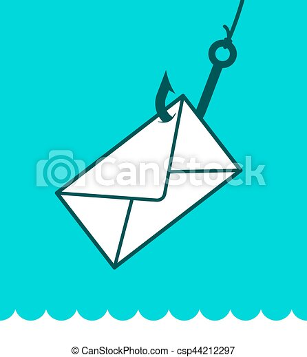 Phishing mail concept with envelope on hook - csp44212297