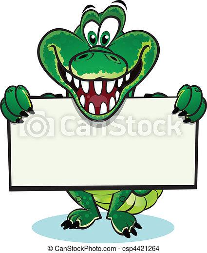 Crocodile holding sign - csp4421264