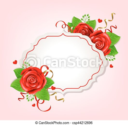 Romantic banner with red roses - csp44212696