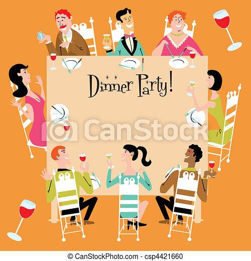 vektor clipart von party, abendessen, einladung - dinner, party, Einladungen