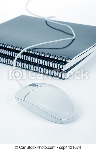 school textbook and computer mouse - csp4421674
