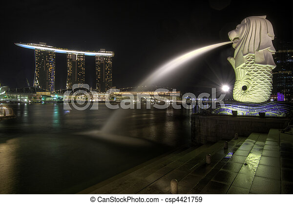Singapore City Skyline at Merlion Park 2 - csp4421759