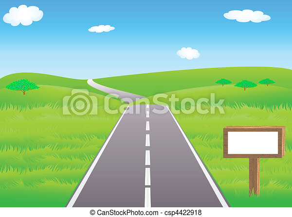 Road and meadows - csp4422918