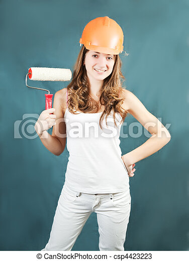female house painters with paint rollers