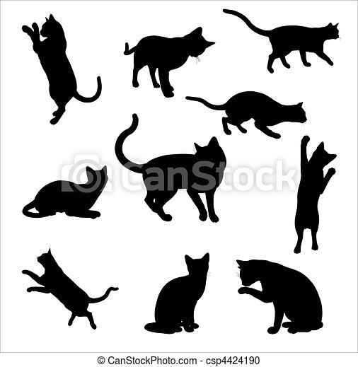 Cat Silhouettes - csp4424190
