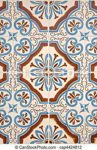 Portuguese glazed tiles. - csp4424812