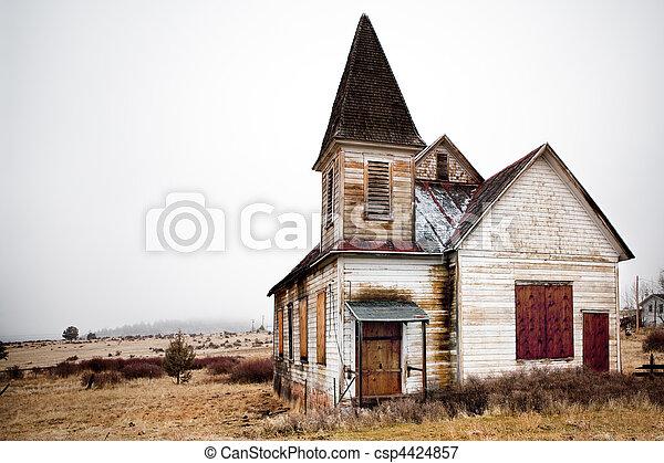 abandoned rural church - csp4424857
