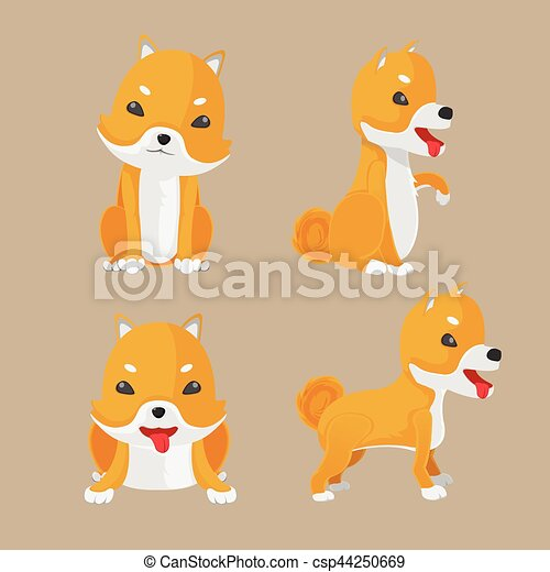Clip Art Vector of Shiba Inu Dog Cartoon Set Vector csp44250669 ...