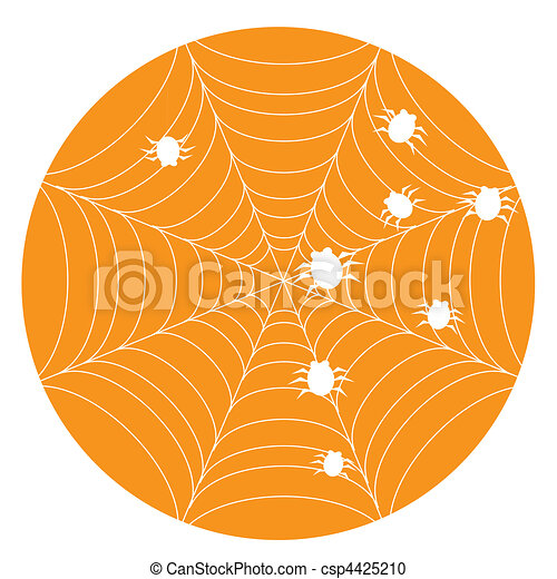 Orange halloween background with web - csp4425210