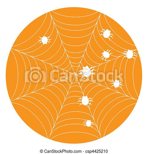 Orange halloween background with web - csp4425210