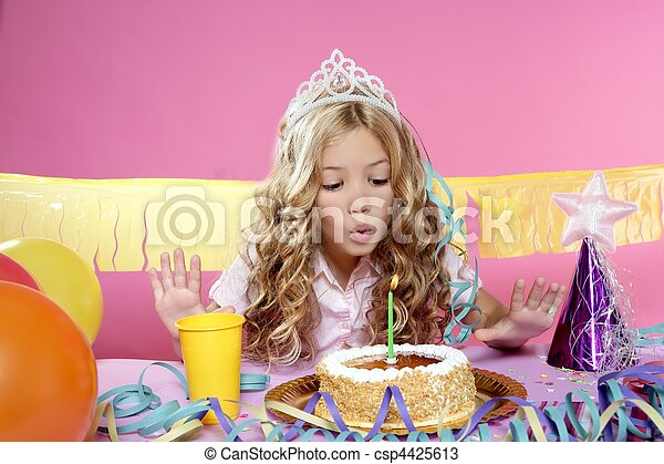 little blond girl  in a birthday party  - csp4425613