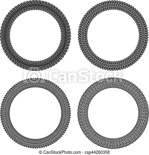 Set of four round vector frames in tire traces style. - csp44260358