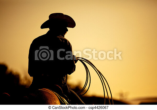 rodeo cowboy silhouette - csp4426067