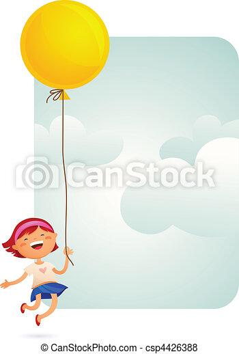 Girl with a balloon - csp4426388