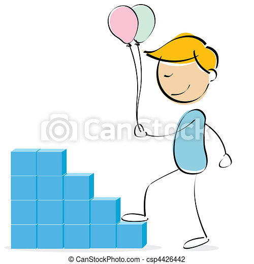 vector kid climbing blocks with balloons - csp4426442
