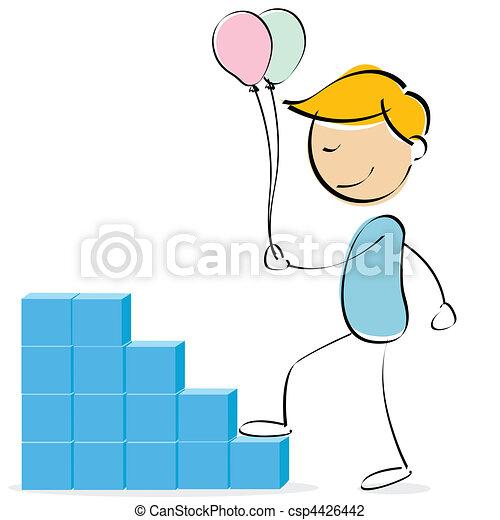 vector kid climbing blocks with balloons - csp4426442