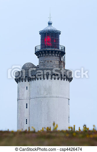 red lighthouse lighted - csp4426474