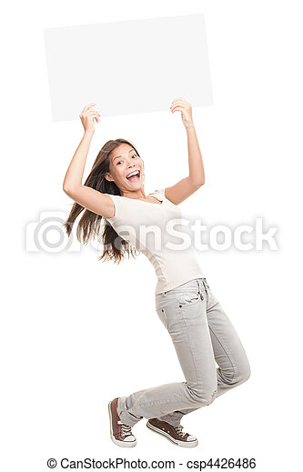Blank poster sign woman excited   - csp4426486