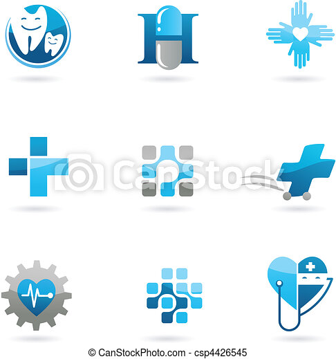 Blue medicine and health-care icons and logos - csp4426545