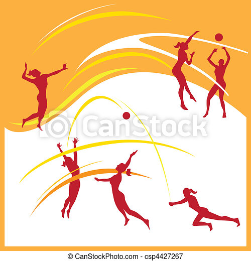 Woman volleyball vector - csp4427267