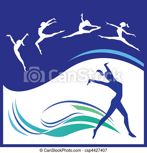Silhouettes gymnasts - csp4427407