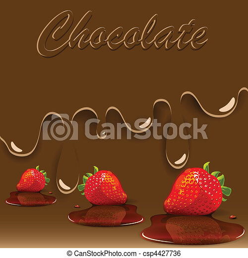 chocolate, strawberry and caramel - csp4427736