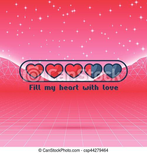 vector estado vida carga barra themed corazones valentines nen juego retro disear s amor