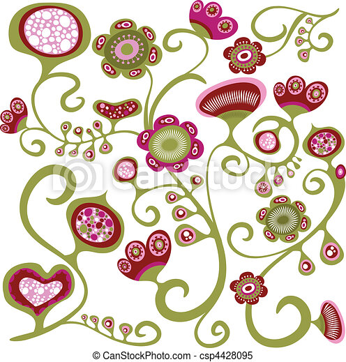 Exotic floral pattern - csp4428095