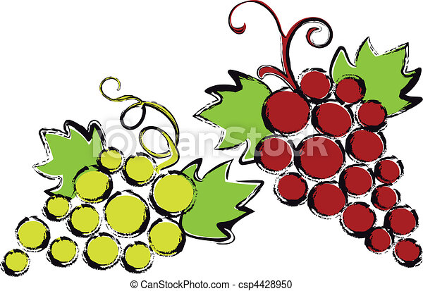 red and green grapes with vine leav - csp4428950