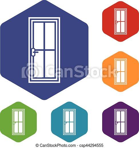 Glass Doors Clipart clipart vector of glass door icons set rhombus in different colors