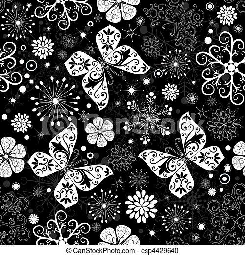 Seamless black-white christmas graphic pattern - csp4429640
