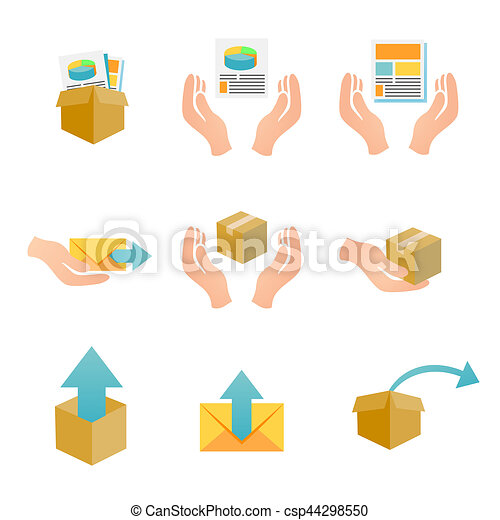 Marketing Company Digital Products Icons with Collateral and Packing Box - csp44298550