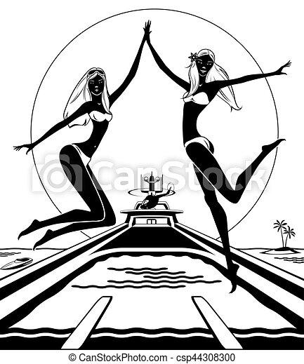 Clipart vecteur de yacht filles deux sauter piscine - Clipart piscine ...