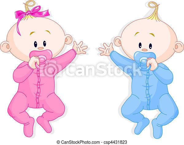 Vectores de Asimiento, gemelos, Chupetes - dos, bebé, gemelos ...