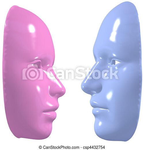 azul, Cor-de-rosa, máscara, homem, mulher, rosto, desligado - csp4432754