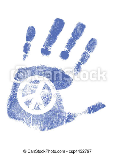 Hand print / Vector / Peace sign - csp4432797