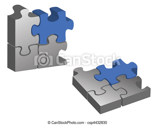 Blue and silver puzzle pieces - csp4432830