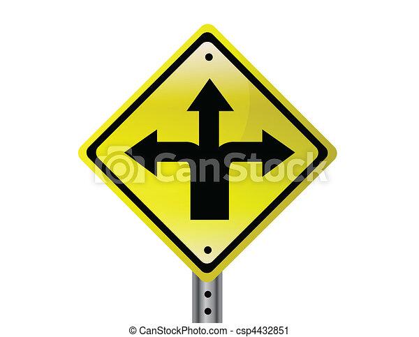 Three way Street sign - csp4432851