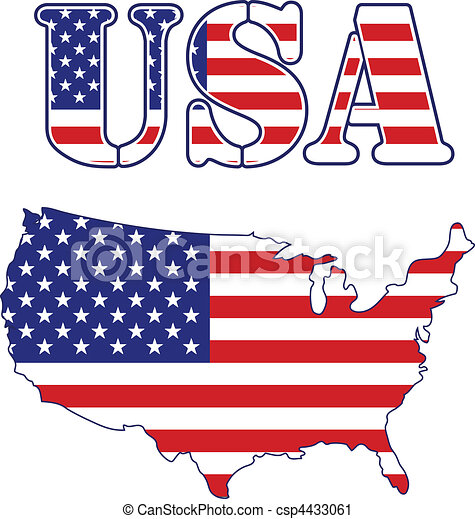 Vector Clip Art of USA map and text Flag - United States vector ...