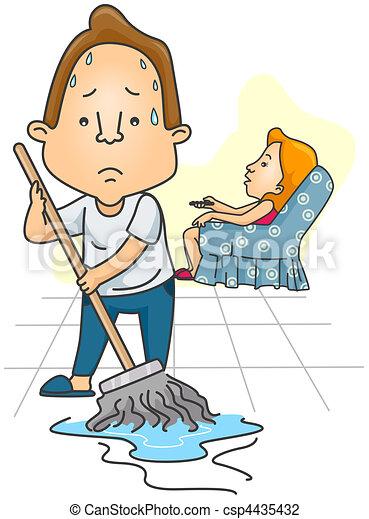 clip art von mann wischen boden w hrend ehefrau uhren csp4435432 suchen sie clipart. Black Bedroom Furniture Sets. Home Design Ideas