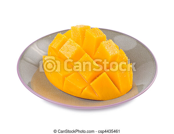 Fresh delicious mango fruit in dish - csp4435461