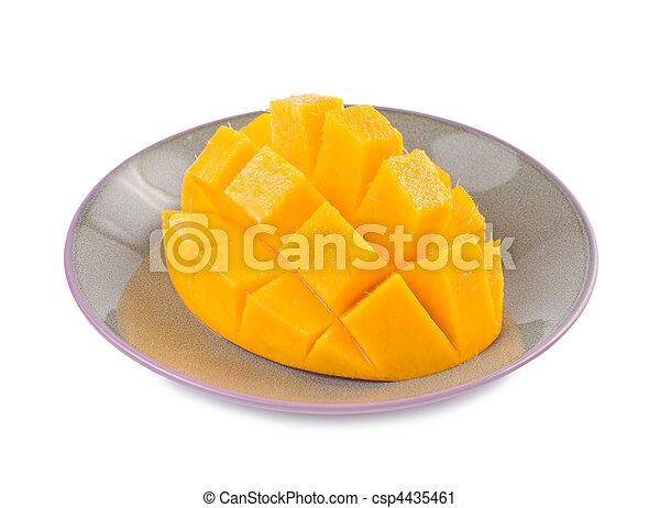 Fresh delicious mango fruit in dish - csp4435461