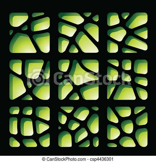 Green and Black Paper Cutouts - csp4436301