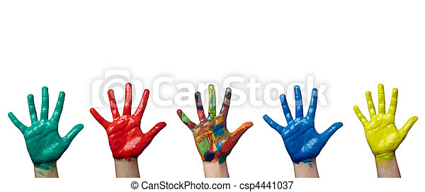 color painted child hand art craft - csp4441037