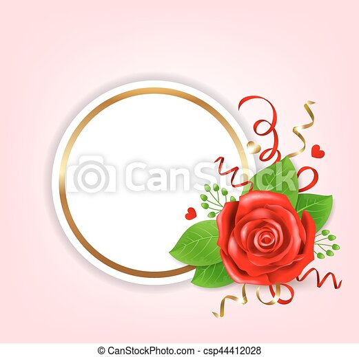 Decorative round banner with red rose - csp44412028