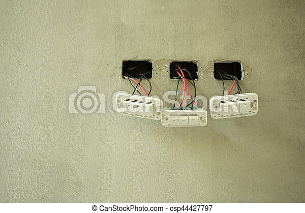 Light control switch electrical system installation in new building