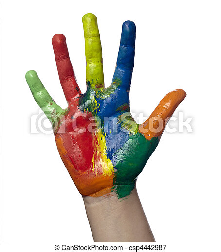 color painted child hand art craft - csp4442987