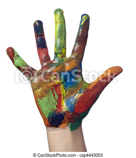color painted child hand art craft - csp4443053