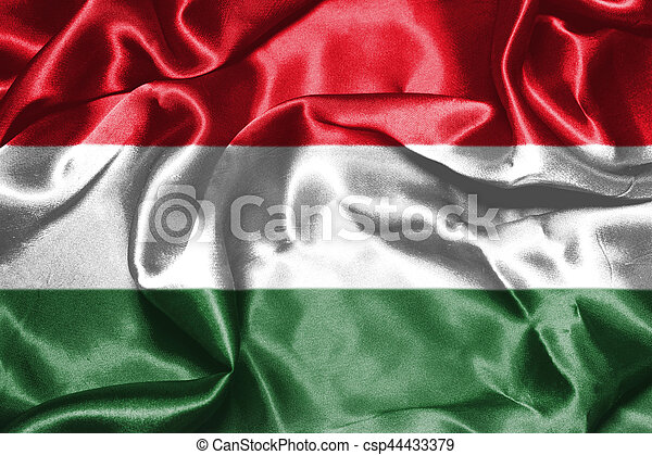Hungarian National Flag Waving in the Wind Grunge Looking 3D illustration - csp44433379